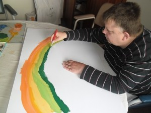 Robert W paints rainbow 24 Sept 2014